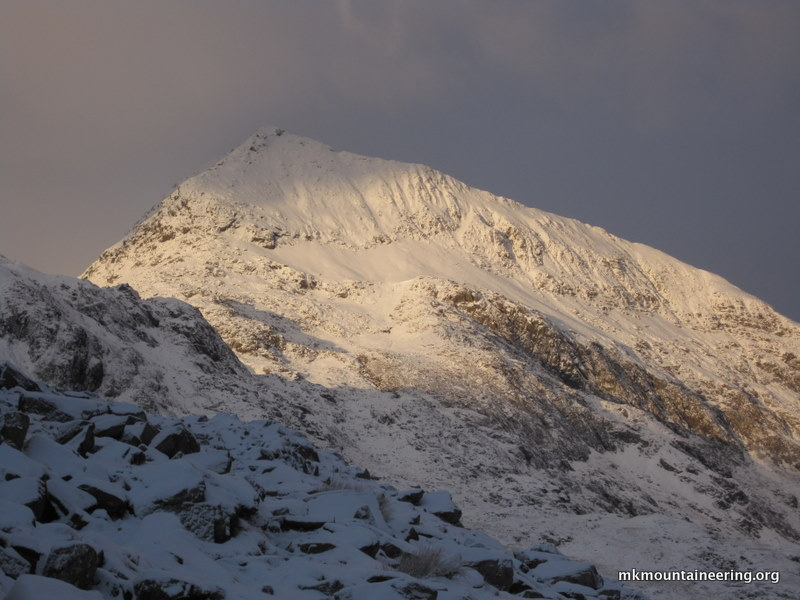 The mountain that forms the first part of the Crib Goch traverse.