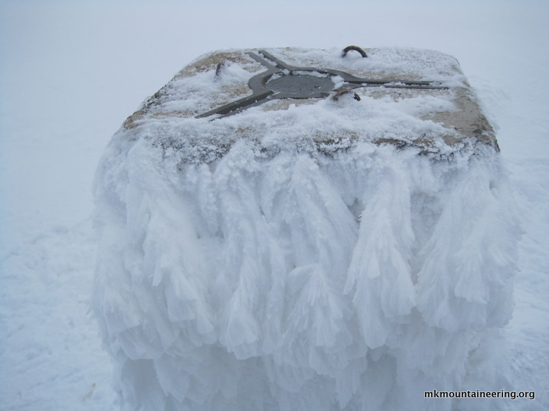 Rime ice on the first trig. point.