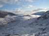 The view back down the valley on a sunny winter\'s morning.